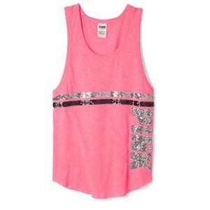 Victoria's Secret Pink Stripe Bling Tank Top